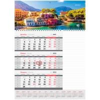 """Календарь квартальный 1 бл. на гребне с блоком для заметок OfficeSpace Mono """"Солнечное побережье"""", 2022г."""