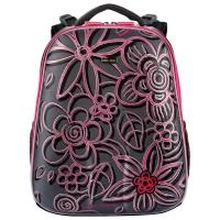 Рюкзак школьный Mike&Mar (Майк Мар) Цветы, серый/малиновый кант
