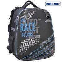 Рюкзак школьный Mike&Mar (Майк Мар) Гонки черный/сер.кант