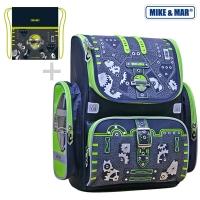 Рюкзак школьный Mike&Mar (Майк Мар) Робот (син/зеленый) + мешок