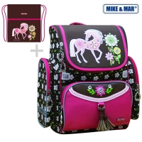 Рюкзак школьный Mike&Mar (Майк Мар) Лошадка (корич/малин кант) + мешок