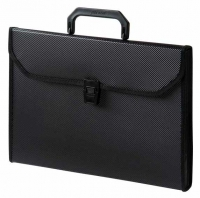 Папка-портфель Бюрократ 6отд.  (BPP6TL) пластик 0,7мм с окантовкой, ребр.поверхн., черный