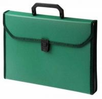 Папка-портфель Бюрократ 6отд.  (BPP6TL) пластик 0,7мм с окантовкой, ребр.поверхн., зеленый