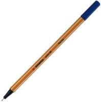 Ручка капиллярная 0,4мм Stabilo, желтый с белой полосой корпус, колпачек, цвет синий (Stabilo)
