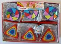 Ластик MAZARI Rainbow  цв. фигур., синт.каучук, 2в.(колесо, треугольник)
