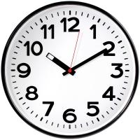 Часы настенные ход плавный, Troyka , круглые, 30*30*5,5, черная рамка
