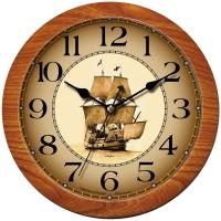 "Часы настенные ход плавный, Камелия ""Корабль"", круглые, 29*29*3,5, св-кор. рамка"