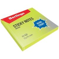 "Самоклеящийся блок Berlingo ""Ultra Sticky"", 75*75мм, 80л, зеленый неон"