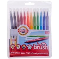 """Фломастеры с кистевым пишущим узлом Koh-I-Noor """"Brush"""", 12цв., трехгранные, смываемые, ПВХ, европод."""