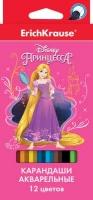 "Карандаши аквар. 12цв. EK ""Принцессы Disney. Королевский бал"" с кист."