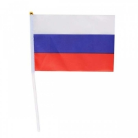 Флаг Российский настольный КОКОС 14*20 с флагштоком, текстиль, пластик
