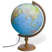 Глобус диаметром 32см физический с подсветкой настольная деревянная подставка