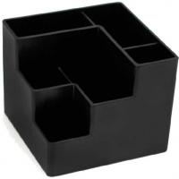Подставка д/пиш.принадл.  12,2*12,2*10, 6секций,непрозр.,черная