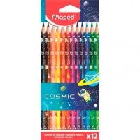 """Карандаши пластик. 12цв. MAPED """"Color`Peps Cosmic""""  с ластиком,к/к,е/подвес"""