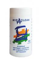 Салфетки чист. для компьютеров и оргтехники влажные 105шт, Miraclean, пластиковая туба  (Miraclean)