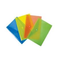 Папка-конверт пластиковая с кнопкой А4, 0.18мм, полупрозрачный, цвет ассорти (PK803Ayel) (Бюрократ)