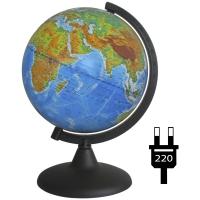 Глобус физико-политический 21см с подсветкой на круглой подставке