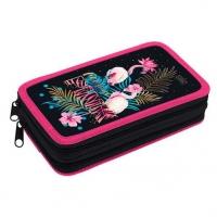 """Пенал 2отд. 190*110 ХАТ """"Розовый фламинго""""  на молн.,мат.лам.,3D-фольга"""