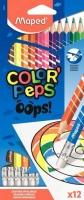 """Карандаши пластик. 12цв. MAPED """"Color`Peps Oops""""  с ластиком,к/к,е/подвес"""