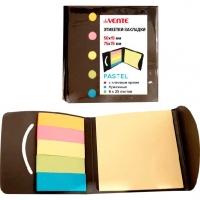 Набор самокл. этикеток-закладок  50*15мм,75*75мм  бумаж.,6*25л.,5пастел.цв.,в крафт.уп