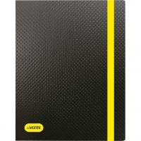 """Папка на резинке А4 deVENTE """"Monochrome"""" 500мкм,  чёрная с неон жёлт.,вертик.,рельеф.поверх."""