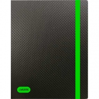 """Папка на резинке А4 """"Monochrome"""" 500мкм,  чёрная с неон зелён.,вертик.,рельеф.поверх."""