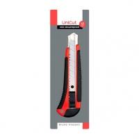 Нож канцелярский 18мм BV Unicut  противоск.резин.покрытие,,пластик.корп.