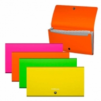 Папка-картотека 12отд. 13*26см EK Matt Neon  Check size,пластик,асс.