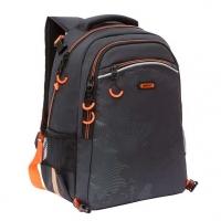 Рюкзак школьный Гризли  чёрный-оранжевый с мешком