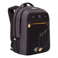 Рюкзак школьный Гризли RB-156-2 чёрный-серый