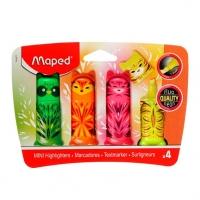 Набор маркеров текст.  4цв. MAPED Fluo Pep`s Mini Friends  устойч.к солнцу чернила,1-5мм