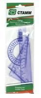Набор линеек 4шт пластиковый Стамм, прозрачный, тонир (тр-р, лин 20см, треуг. 2шт.)  (Стамм)