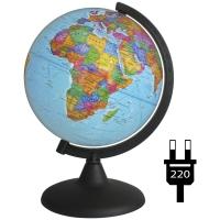 Глобус политический 21см с подсветкой на круглой подставке