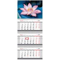 "Календарь квартальный 3бл. на 3гр. OfficeSpace Mini ""Цветок лотоса"", 2022г."