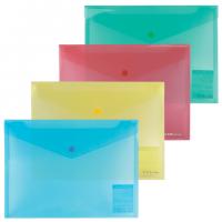 """Папка-конверт пластиковая с кнопкой В5, прозрачная, цвет ассорти, """"диагональ"""", ENVELOPE FOLDER (Erich Krause)"""