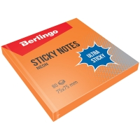 """Самоклеящийся блок  """"Ultra Sticky"""", 75*75мм, 80л, оранжевый неон"""