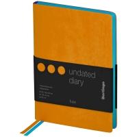 """Ежедневник недатированный, B6, 136л., кожзам, Berlingo """"Fuze"""", цветной срез, оранжевый"""