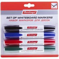 Набор маркеров для белых досок 4цв., пулевидный, 2мм, европодвес