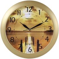 Часы настенные ход плавный, Troyka , круглые, 29*29*3,5, золотистая рамка