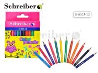 Набор цветных карандашей,12 цветов., пластик.корп.(короткие)