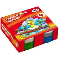 """Краски пальчиковые Гамма """"Мультики"""", классические, 04цв., 50мл, картон. упак"""