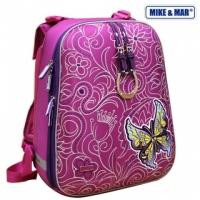 Рюкзак школьный Mike&Mar (Майк Мар) Бабочка малиновый