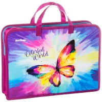 "Папка с ручками 1 отделение, А4 Berlingo ""Colorful butterfly"", 340*245*75мм, пластик, на молнии"