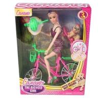 Кукла Camaner на велосипеде с питомцем, в кор.