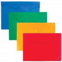 """Папка-конверт пластиковая с кнопкой В5, непрозрачная, цвет ассорти """"диагональ"""", ENVELOPE FOLDER (Erich Krause)"""