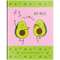 """Дневник для музыкальной школы 48л. (твердый) ArtSpace """"Dancing avocado """", матовая ламинация"""