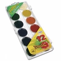 """Краски акварельные ГАММА """"Пчелка """", 12 цв., пластиковая коробка с европодвесом, без кисти,"""