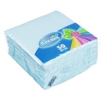 Салфетки бумажные 45шт/50шт, однослойные, 24х24см, белые/цветные, п/у