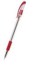 Ручка шариковая Cello Slimo Grip, 0.7мм, прозрачный корпус, резиновая накладка, колпачек с клипом, стержень красный (305 092040) (Cello)