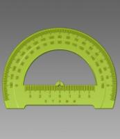 Транспортир 180гр., 12см,  отливная шкала, Neon Cristal (100)